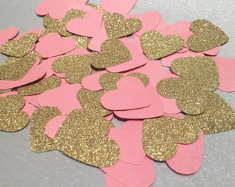 Pink and Gold Heart Table Confetti / Heart Confetti/ Baby Shower Confetti/ Birthday decorations/ Cake table
