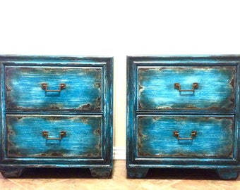 SOLD!!  Two Rustic Weathered Night Stands