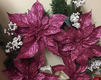 Christmas pink wreath for door on sale this week till dec 14 th