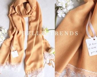 Gold Pashmina Scarf, Set of 1,2,3,4,5, 6, Pashmina Lace Shawl, Pashmina shawl, Wedding Favor, Bridal Shower Gift, Bridal Shawl, Wraps
