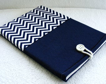 """IPad Pro 12.9 Case,  Kindle DX Case, Kindle DX White Cover Sleeve, Padded Sleeve , Navy and White Polka Dots and Chevron Print, 13""""x 8 1/2"""""""