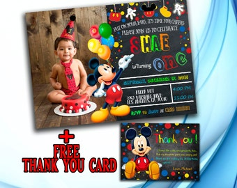 Mickey Mouse Invitation, Mickey Mouse Birthday Invitation, Mickey Mouse Photo Invitation, Chalkboard Invitation, +Free Thank you card