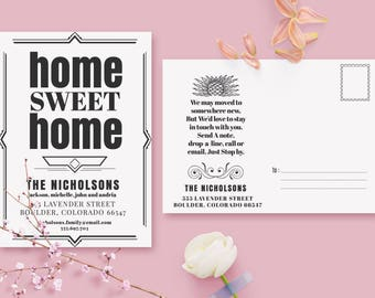 Art Deco Moving Announcements Card Template