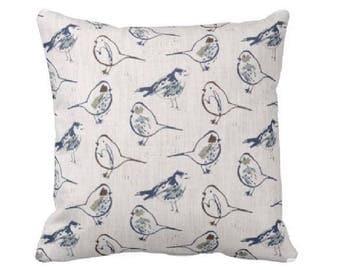 Blue Grey Pillow Cover - Decorative Throw Pillow Covers - Grey Pillows - Gray Pillows - Couch Pillow - Pillow Sham - Bird  Pillow