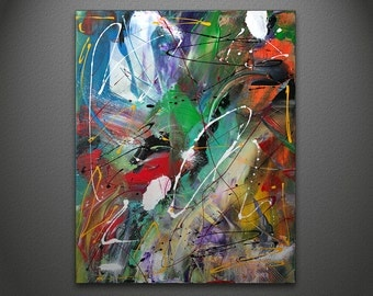 Abstract Painting Orange Green Blue White Textured Paint Splatter Original