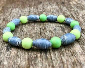 Paperbeads and Crysoprase, Green and Lemon Bracelet, Springtime Jewelry, stretch bracelet