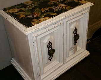White Distressed Mid Century Night Stand,Bedside,Coffee Table Decoupage,  Floral, Brass