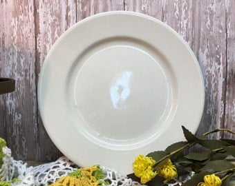 Vintage Buffalo China Plate/Dinner Plate/White Ironstone/Farmhouse Dishes