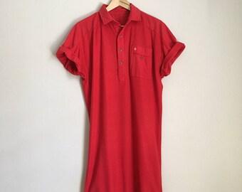 Polo t-shirt dress, 80s, loose fit, medium-large *vintage*