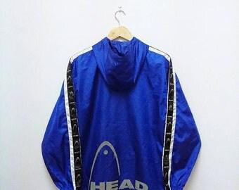 Hot Sale!!! Rare Vintage 90s HEAD Multicolour Big Logo Windbreaker Hoodie Jacket Hip Hop Swag Medium Size