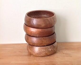 Vintage wood bowls, set of 4