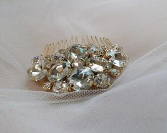 Gold Crystal Bride Hair Comb/ Bride Hair Comb/ Bridesmaids Hair Comb/Sparkly Crystal Hair Comb/Crystal Hair Piece