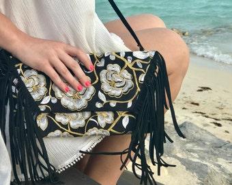 Embroidered Leather Fringe Cross Body Bag. Boho Bag. Beach Bag. Bohemian bag. Fringe Bag. Hmong bag. Leather bag. Embroidered bag.