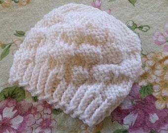 Preemie / Newborn White Knit Hat