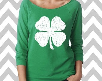 Shamrock St. Patrick's Day Sweatshirt Oversized 3/4 Sleeve Sweatshirt St. Patty's Day Sweatshirt Shamrock Sweatshirt Drinking Tee Shamrock