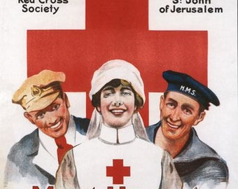Vintage WW1 UK Red Cross Poster A3/A2/A1 Print