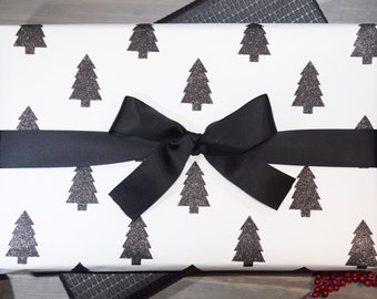 Black and White Holiday Trees - Recycled Cotton Gift Wrap