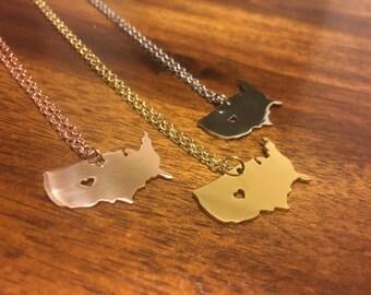 Usa Necklace - Usa Pendant - Usa Charm - Usa Outline - Usa Jewelry - Usa Map Necklace - USA - US Necklace - America Necklace - US Jewelry