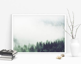 Misty Forest Landscape - Mist Mountain Photography, Fog Photo Poster, Nordic Prints, Minimalist wall Art, Instant Download Digital Picture