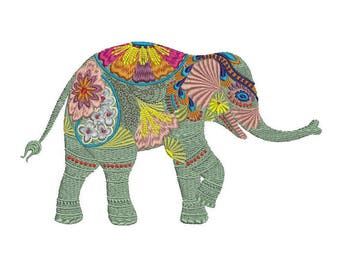Elephant from Bohemian Jungle Machine Embroidery Tropical Animal Indian Floral Summer Boho Design Pattern Instant Download ZIP - 2 sizes