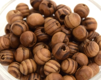 With pine wood natural Brown round 8 mm bulk of 100 beads / 200 units