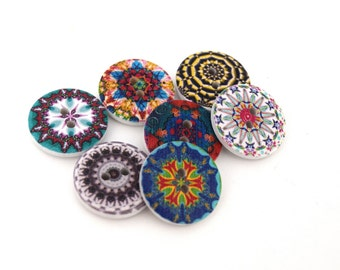 Wood buttons sewing Scrapbooking diam mixed pattern round. 20 - 2 holes 2 sets of 10/20/30/50