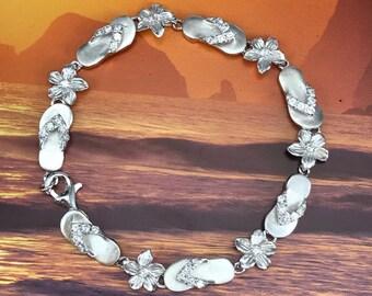 Sterling Silver Hawaiian Plumeria and Flip Flop Design Bracelet (B268)