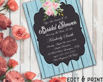 Rustic Bridal Shower Invitation, Chalkboard Bridal Shower Invitation, Rustic Wedding Shower Invite, Floral, Wood, DIY, Instant Download