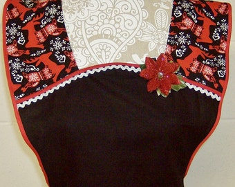 Christmas Aprons / Mother and Daughter sizes available / Black with Red Nordic Reindeer / Holiday Aprons / Cute Vintage Style / #A39