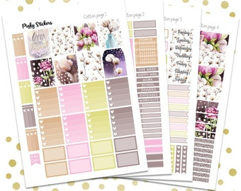 Cotton Weekly Kit for Erin Condren   Printable   Includes Blackout Files for Easy Cutlines