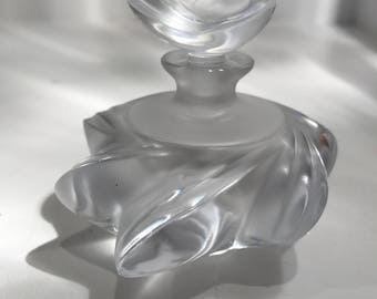 Vintage Lalique Samoa Frosted Glass Perfume Bottle with Stopper