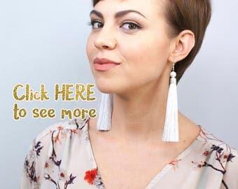 Light Grey Tassel Earrings, Long Dangle Earrings, Wedding Earrings, Modern Earrings, Gift for Her under 50, Simple Earrings