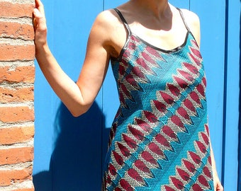 Tunic or short dress, fancy tunic, tunic with straps, tunic, tunic, wax cotton, graphic feather turquoise background
