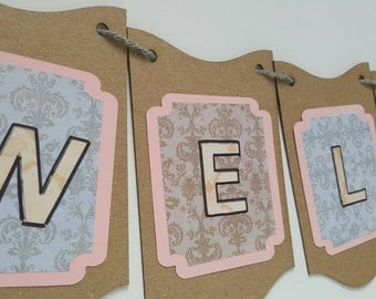 Welcome Banner / Damask / Shabby Chic / Custom