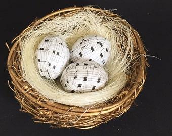 sheet music decor-easter decoration-birdnest-sheet music eggs-easter eggs-covered in sheet music-spring decor