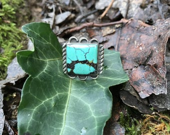 Single square turquoise stone ring