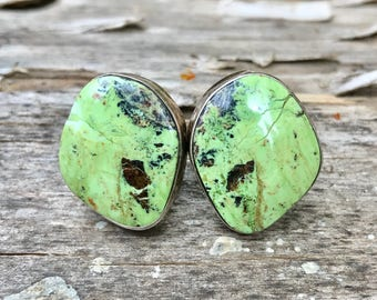 Green Turquoise Clip on Earrings