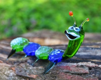 Green Glass caterpillar figurine animals glass caterpillar gift miniature art glass toys murano green collection figure sculpture art