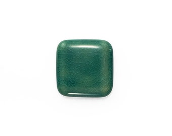Ceramic Blue Crackle Square Cabochon 1 piece