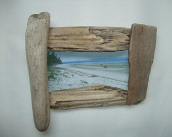 10x6 cool natural unfinished weathered unique rustic floating british columbia beach driftwood picture frame - Driftwood Picture Frame