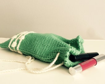 100% Cotton Knitted Cosmetics Bag with Drawstring Closure. Handmade Toiletries Bag.
