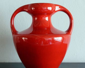 Orange Amphora vase by Marei, West Germany