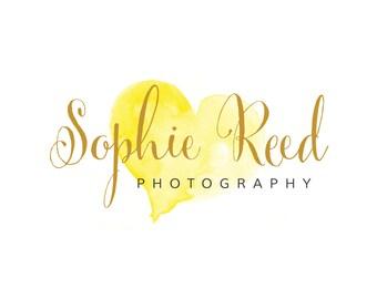 Watercolour Logo | Premade Logo Design | Calligraphy Logo | Heart Logo | Gold Logo | Watercolour Splodge | Photography Logo