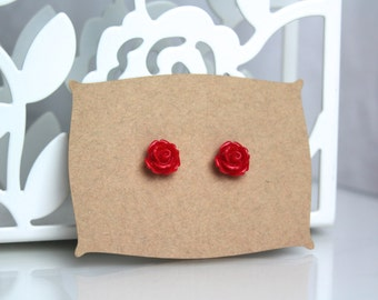 Red Rose Earrings // kawaii earrings // cute unique earrings //