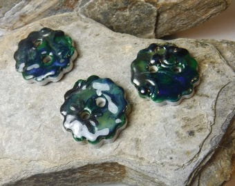 3 Handmade Ceramic Buttons / Sewing and Fiber, Knitting, Materials, Buttons & Closures items #705
