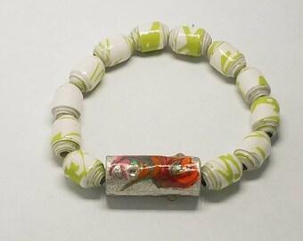 Ladies beaded bracelet-girls beaded bracelet-Go green recycled paper bead bracelet-elastic stretch bracelet