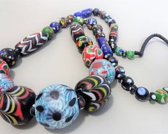 Pelangi Rainbow glass bead necklace from East-Java, Indonesia, Unique handmade glass beads etnic ethnic necklace gift for her gift for woman