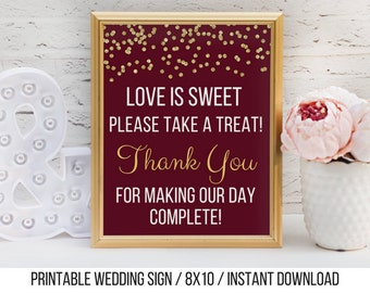 Love is Sweet Please Take a Treat / Printable Candy Buffet Sign / Gold and Burgundy Wedding Sign / Candy Buffet Sign / Instant Download
