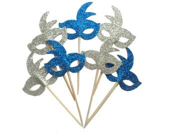 Royal Blue and Silver Mardi Gras Mask Cupcake Toppers - Set of 12+ Masquerade Party, Birthday Party, Bachelorette Party Fun Decor - Die Cut
