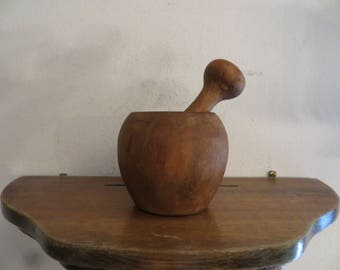 Mortar and Pestle, Wood, Vintage Kitchen Decor w/ free ship